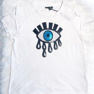 White  T-shirt,, Sequin eye Ruffle sleeves Sise XL